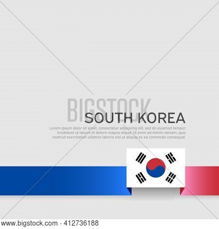 South Korea Flag On A White Background. Vector Brochure Design. Cover For Business Booklet. Ribbon W
