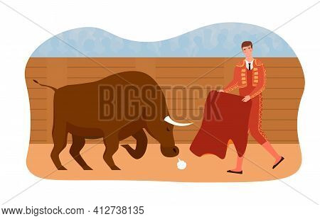 Spanish Bullfighting Corrida Composition Arena With Character Of Toreador And Bull. Flat Abstract Me