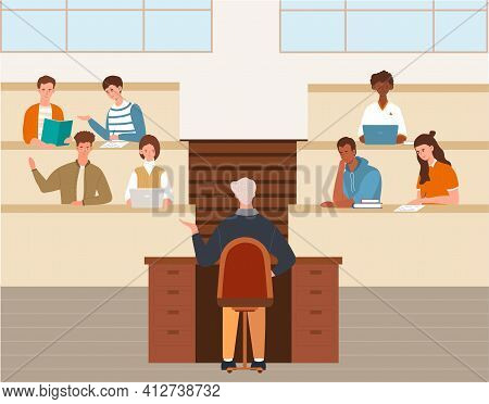 University Lecture, Higher Education, School Lesson Concept. Multiracial College Students And Teache