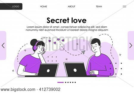 Flirt On Dating Site Concept. Secret Romantic Relation Between Young People Or Teens. Website, Web P