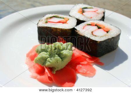 Sushi Next To Wasabi And Sushi Ginger