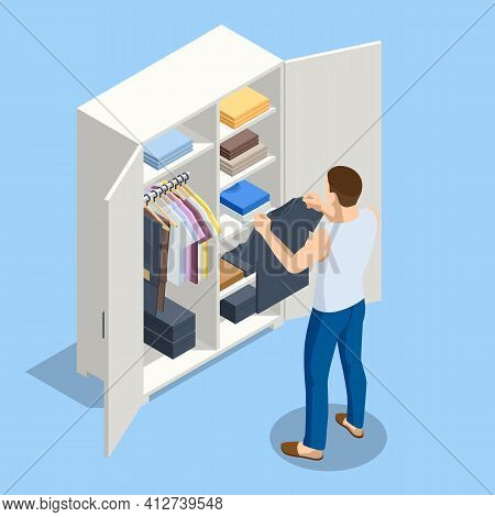 Isometric Large Wardrobe With Things. Man Choosing Outfit From Large Wardrobe Closet With Clothes An