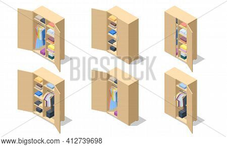 Isometric Set Icons Of Large Wardrobes Closets With Clothes And Home Stuff. Big Wardrobe With Differ
