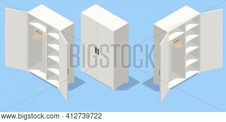 Isometric Set Icons Of Large Empty Wardrobes. Empty White Wardrobe And Hangers Isolated