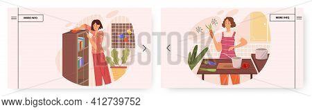 Home Chores Landing Page Design, Website Banner Vector Template Set. Household Chores, Housework, Ho