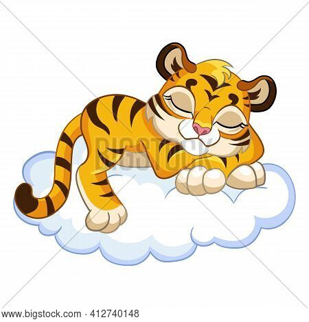 Cute Sleeping Tiger Cartoon Character Vector Illustration