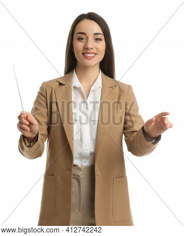 Music Teacher With Baton On White Background