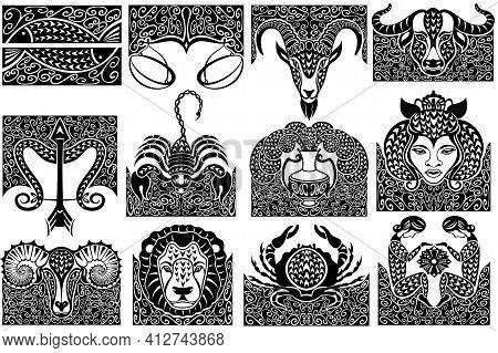 Set Of Zodiac Signs Icons. Aries, Leo, Gemini, Taurus, Scorpio, Aquarius, Pisces, Sagittarius, Libra
