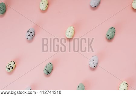 Quail Eggs Pattern. Different Quail Eggs On Pink Background. Easter Concept. Flat Lay, Top View, Cop