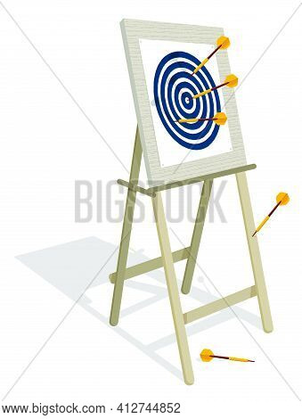 Darts Board Target With Dart Arrows On Tablet For Education And Training In Cartoon Style. Employee