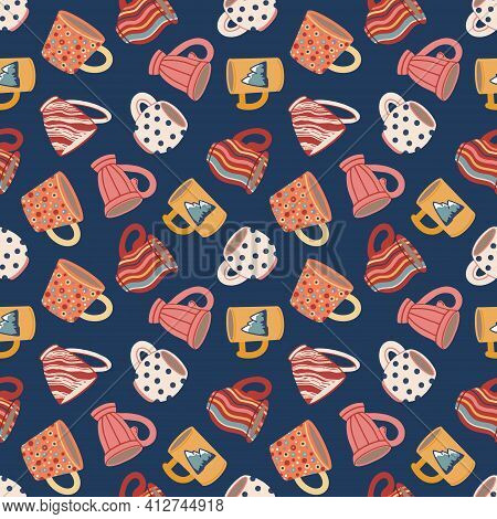 Seamless Pattern With Cups And Mugs. Cute Ceramic Tableware. Design Of Textiles, Menus, Canteens, Ea