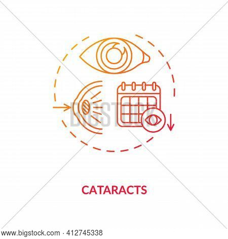 Cataracts Concept Icon. Adults Eyes Diseases. Cloudy Area In Lens Of Eyeball That Leads To Decrease