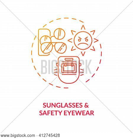 Sunglasses And Safety Eyewear Concept Icon. Eye Health Tips. Protection For Body Organs From Wind Wi