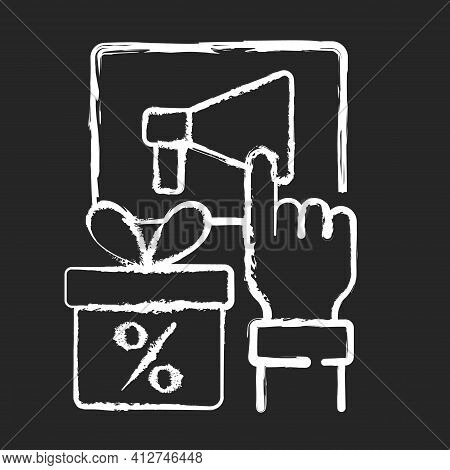 Sharing Post To Get Discount Chalk White Icon On Black Background. Obtaining Discount For Activities