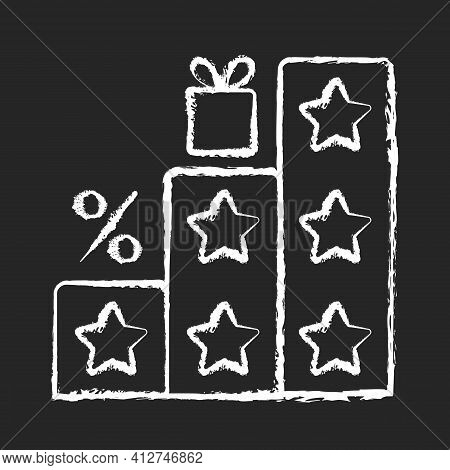 More Points And Rewards Chalk White Icon On Black Background. Tier Program. Tiered Loyalty Program.