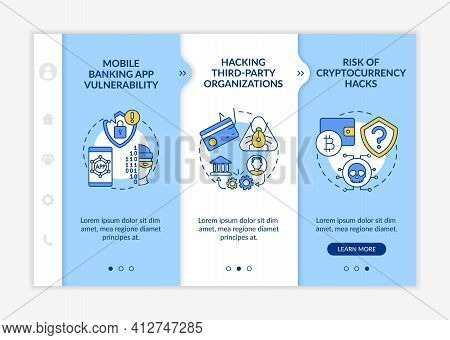 Hacking Third-party Organizations Onboarding Vector Template. Risk Of Cryptocurrency Hacks. Responsi