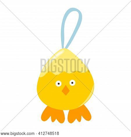 Yellow Chick For Easter Holiday. Design Element For Easter. Chicken Farming Poultry Symbol Icon Sign
