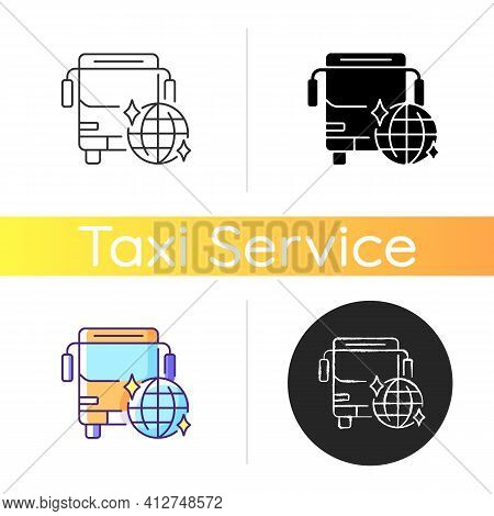 Party Bus Icon. Ability To Coolly Celebrate The Holiday. Bus Ordering. Disco Bus. Fun Way To Celebra