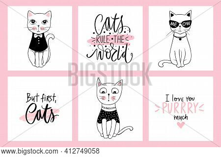 Vector Doodle Cats Illustrations And Kitten Quotes. Cartoon Animals. Cute Kitty In Sketch Style For