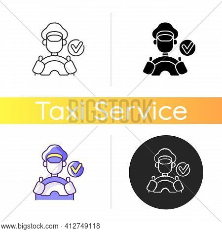 Verified Drivers Icon. Drivers With A License. Safe Travel Guarantee. Check Taxi Service Personeel.