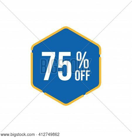 75% Sale Tag Vector Badge Template, 75% Sale Label Collection, Clearance Sale Sticker Emblem, Bargai