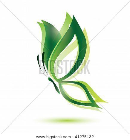 green butterfly ecology concept isolated vector symbol poster