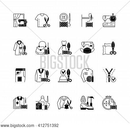 Clothing Alteration And Repair Services Black Linear Icons Set. Professional Upholstery. Sewing Mach