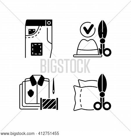 Clothing Alteration Service Black Linear Icons Set. Denim Pants, Jeans Fixing. Upholstery, Garment R