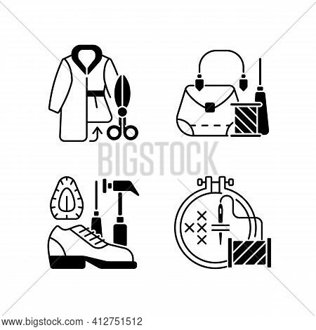 Clothes Repair Black Linear Icons Set. Fur Outerwear Resizing. Leather Bag And Accessories Fix. Clot
