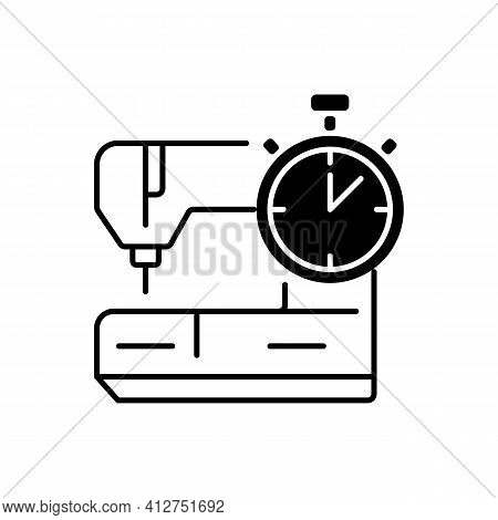 Same Day And Emergency Tailoring Black Linear Icon. Sewing Machine. Urgent Outfit Fixing. Clothing A