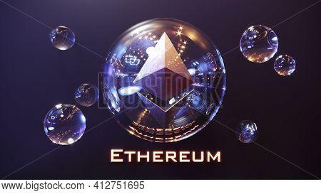 Ethereum Logo Sign. Crypto Currency Digital Money. Ethereum Blockchain Symbol. 3d Illustration