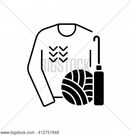 Knitwear Alteration And Repair Black Linear Icon. Knitted Sweater. Hobby And Craft. Clothing Alterat