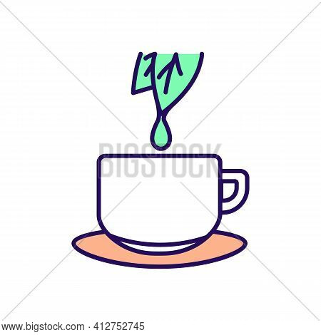 Green Tea Rgb Color Icon. Herbal Leaf Drink. Low Calorie Fluids For Dieting. Peppermint Tea In Cup.