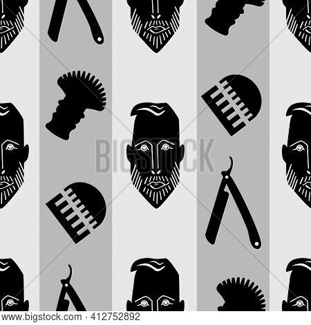 Male Face And Barber Tools Seamless Vector Pattern Background. Grey Striped Geometric Backdrop With
