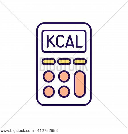 Calorie Calculator Rgb Color Icon. Intermittent Fasting. Dieting Strategy. Weight Loss Method. Eatin