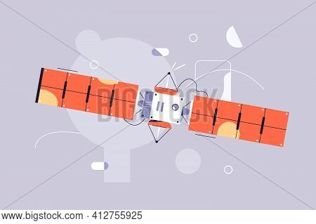 Satellite Fly In Space Vector Illustration. Space Station Flat Style. Artificial Satellite Orbiting