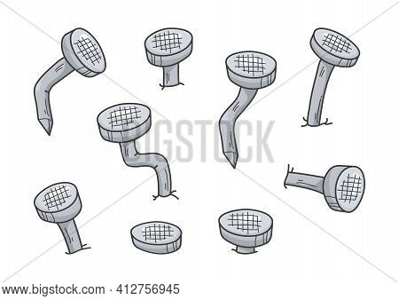Metal Old Rust Bent Nail Vector, Cartoon Gray Pin Icon. Carpentry Concept Isolated On White Backgrou