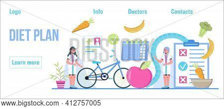 Diet Plan Concept Vector. Nutrition Diet, Weight-management, Individual Dietary Planning. Organic Fr