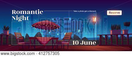 Romantic Night Cartoon Web Banner With Cafe Patio
