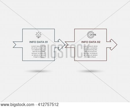 Business Infographic Design Template Vector With Icons And 2 Options Or Steps