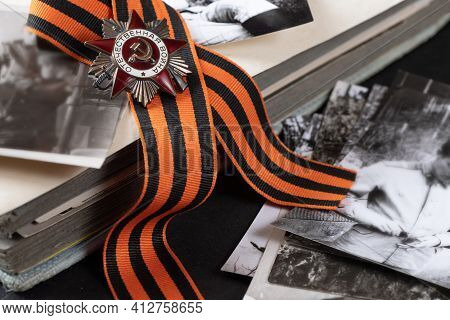 Order Of Patriotic War (inscription Patriotic War) With St. George's Ribbon On Old Black And White P
