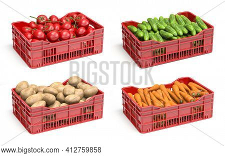Set of plastic crates with vegetables. Potato, carrot, cucumber and tomato crates isolated on white. 3d illustration