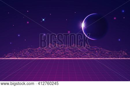 Graphic Of Polygonal Land With Outer Space As Background