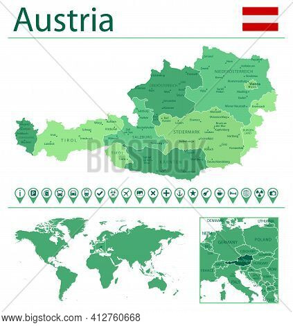 Austria Detailed Map And Flag. Austria On World Map.