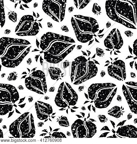 Strawberry Linocut Seamless Vector Pattern Background. Stencil Style Hand Drawn Berries With Leaves