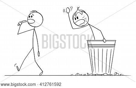 Beggar Homeless Man Living In Garbage Can , Vector Cartoon Stick Figure Illustration