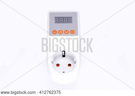 Voltage Relay Close-up. Voltage Relay On White Background