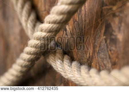Hemp Cord. Sea Rope, Close-up For Interior Design. Rustic Beige Cord Made Of Eco Material.