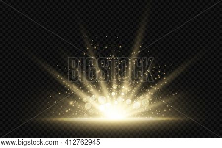 Star Burst With Sparkles. Golden Light Flare Effect With Stars, Sparkles And Glitter Isolated On Dar