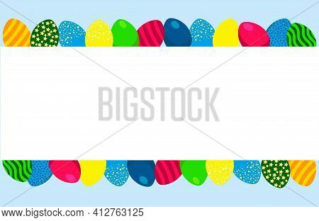 Happy Easter Day.easter Banner Or Poster Template With Easter Eggs.background.vector.illustration.gr